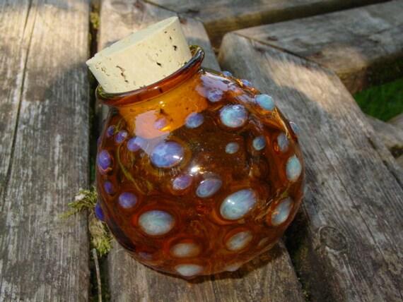 Large Amber Spots glass stash jar bottle Made to Order