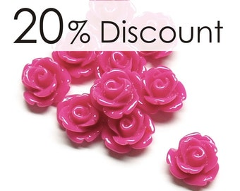 RSCRS-10FS - Resin Cabochon, Rose 10mm, Fuchsia - 50 Pieces (5pk)
