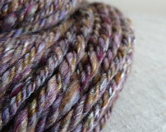 Handspun yarn, silk and merino wool, 3ply