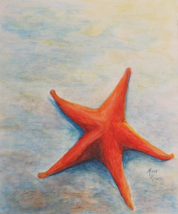 Original Watercolor Painting Starfish