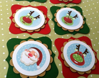 Christmas Tags Set of 10. Santa Claus and Reindeers
