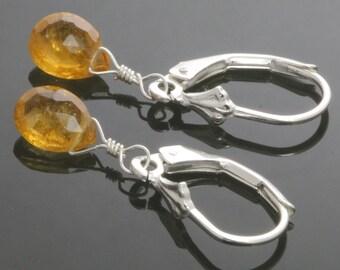 Golden Tourmaline Sterling Silver Leverback Earrings f12e016
