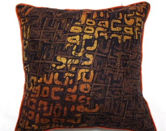 Cushion, African print cushion, Throw pillow, Tribal cushion, Ethnic decor, Brown and Orange Batik Cushion, African Pillow, Brown cushion