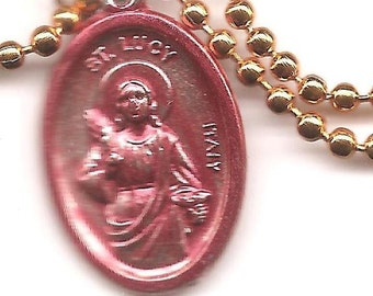 Eyes, St. Lucy Patron Saint Medal on Orange Ball Chain