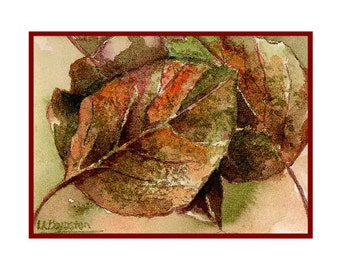 Watercolor Fall Poplar Leaves Notecards Note Cards, Autumn Leaf Cards, Fall Leaf Stationery, Fall Leaf Prints, Gift Box, Stocking Stuffers
