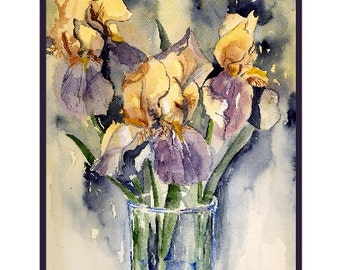 Watercolor Cut Irises Note Cards, Notecards, Iris Art,Iris Prints, Boxed Set, 6 or 8 Cards, Iris Lover, Stocking Stuffers