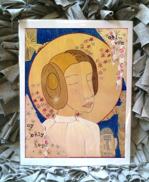 Princess Leia, a Star Wars print from an original painting by Lea Keohane