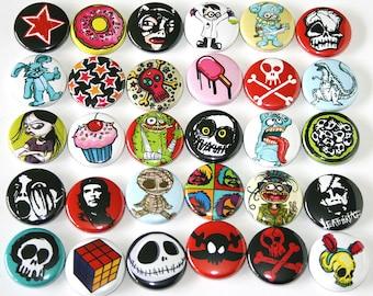 Mixed Alt. Skulls Weird Badges Pinback Buttons Lot x 30 - 25mm