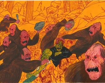 """ORIGINAL Bigfoot vs. Zombie War 15x20 gouache painting by """"Mordicai Sulk"""""""