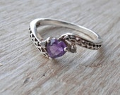 Vintage Estate Sterling Heart-Shaped Amethyst Diamond Ring 7 or 7.25