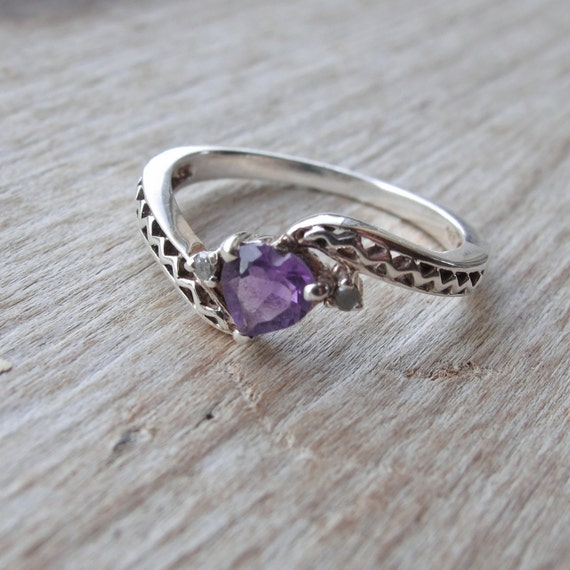 Vintage Estate Sterling Heart-Shaped Amethyst Diamond Ring 7 or 7.25