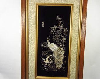 Vintage Asian Mother of Pearl or Shell Peacock Picture - Retro White Oriental Bird
