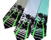 Raving Laser Kitten necktie. Green glow lasers. LOL cat black light reactive, space laser screenprinted microfiber tie.
