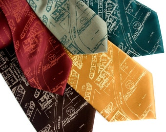 "Detroit map necktie, ""Eastern Market"" tie. Made in Michigan. Silkscreen design. Your choice of colors. Choose standard or narrow width."