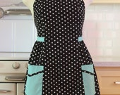 Retro Plus Size Apron Black Polka Dot with Aqua