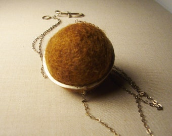 Brown Felted Wool Silver Saturn Necklace