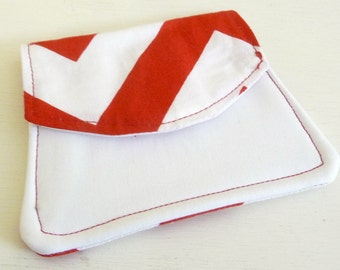 Cotton Fabric Wallet, Red and White Chevron