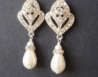 Wedding Jewelry, Art Deco Bridal Earrings, Pearl Wedding Earrings, Vintage Style Bridal Jewelry, Rhinestone Earrings, IVANA