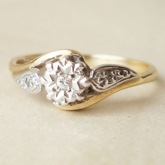 Vintage Engagement Ring Solitaire Diamond Ring Wedding Ring