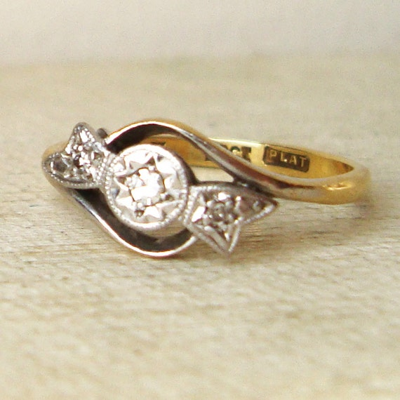 Art Deco Engagement Ring, Antique Diamond Bow Ring, Platinum, Diamond & 18k Gold Ribbon Bow Ring Size US 5.75