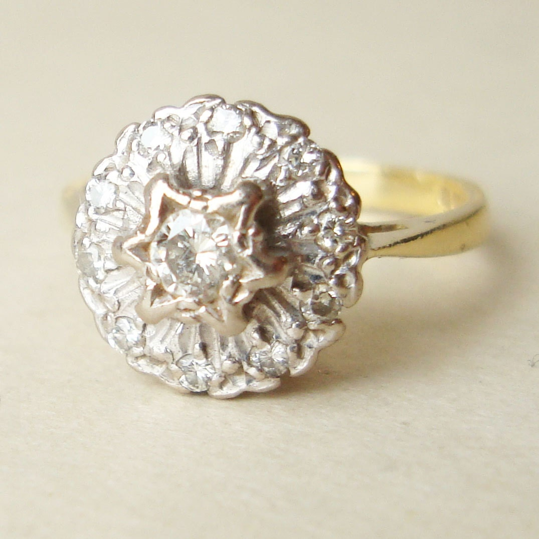 Vintage Diamond Flower Ring 18k Gold Engagement by luxedeluxe