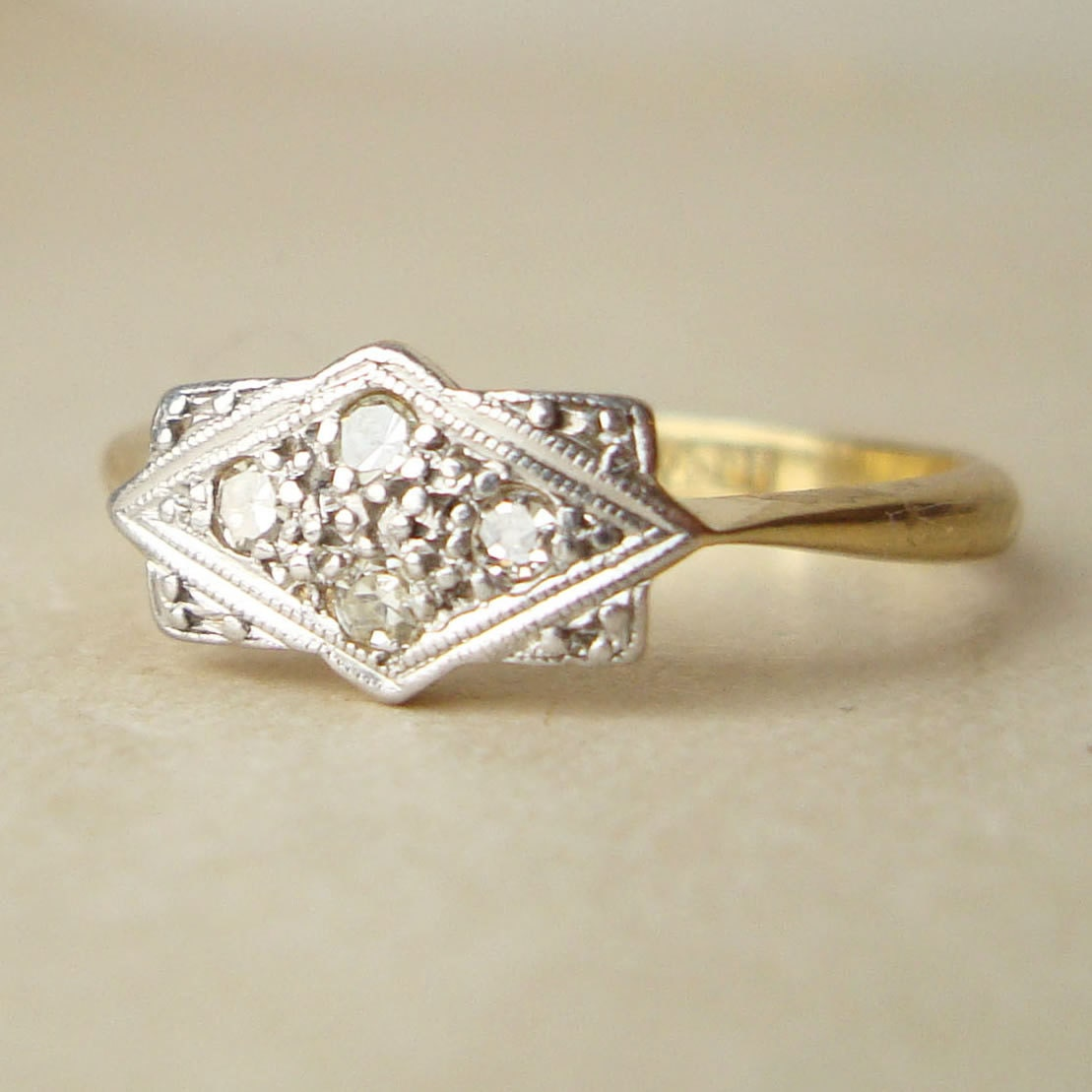 Antique engagement ring art deco 18k gold diamond ring for Art craft engagement rings