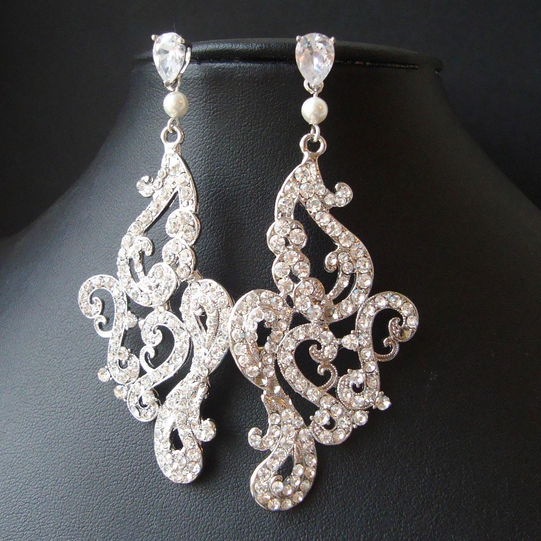 Vintage Style Earrings: Vintage Style Chandelier Bridal Earrings Statement Bridal