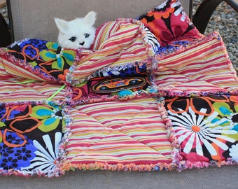 SALE--Cat Blanket, Blanket for Cats, Fabric Cat Blanket, Crate Mat, Travel Cat Blanket, Luxury Cat Blanket