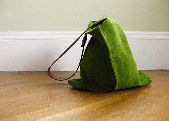 13in Wedge - Leaf green suede leather bag