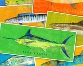"Saltwater Fish Art- The Big One Fish Print- Pick the Fish 6.6"" x 18"" and up- Coastal Art- Kids Beach Decor- Fishing Anniversary Gift for Man"