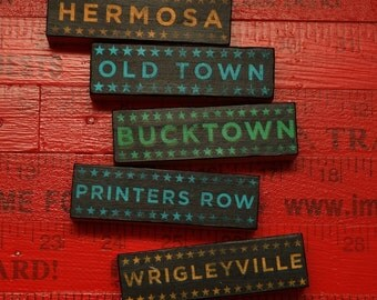 Gifts for Him- Gift for Her- Chicago Art- 5 Hoods on Wood Blocks- Pick the Hoods City- Art For Him- Typographic Print Set