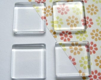 20mm Transparent Glass Cabochons, Square, 20pcs