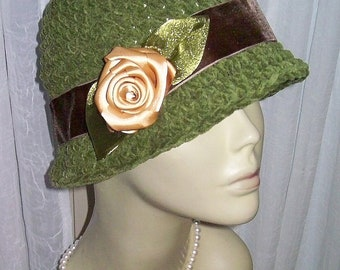 New Vintage Style Olive Faux Suede  Cloche Hat Gold Satin Rose Flower