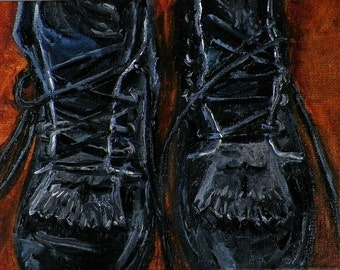 Riding Boots My Favorite Pair Paddock Boots Close Up Horse Original Oil Painting by debra alouise Absract Horses Paintings