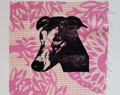 Greyhound Patch, screen print patch, Pink Fabric, dog art, pet art, silkscreen