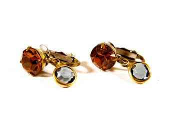 GLEAM Champagne and Grey Glass Vintage Clip on Earrings