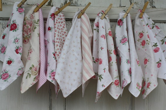 RESERVED-Upcycled Cloth Napkins-Shabby Chic Cottage