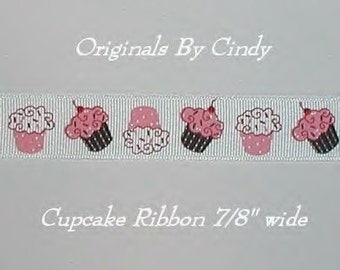 Cupcakes Ribbon Cherries Cupcake Grosgrain Pink Brown Red 5 y 7/8 wide cbseveneight