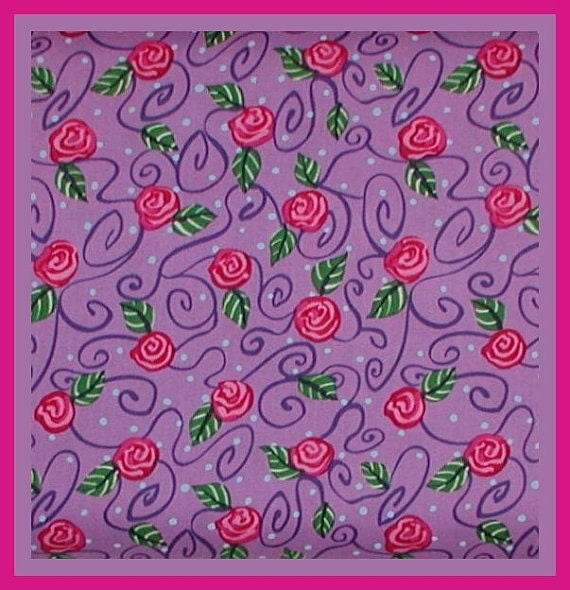 Pink Purple Fabric Roses Lavender Green Leaves Blue Polka Dots Cotton