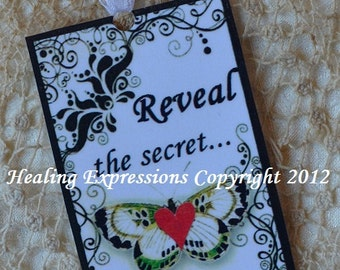 REVEAL the SECRET TAG butterfly altered art journal bookmark scrapbook collage recovery survivor healing journey therapy