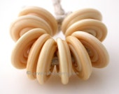 DARK IVORY Wavy Disks Lampwork glass Beads - TANERES