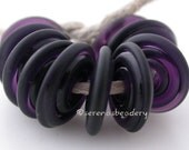 Lampwork Glass Beads DARK VIOLET TUMBLED etched handmade Wavy Disks - taneres purple