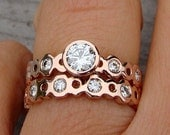 Moissanite and Recycled 14k Rose Gold Engagement Ring and Wedding Band Set - Eco-Friendly Diamond Alternative - Made to Order