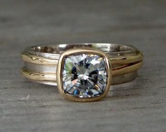 Moissanite Wedding Ring - Forever Brilliant Moissanite, Recycled 14k Yellow Gold, and 18k Palladium White Gold Alternative Engagement Ring