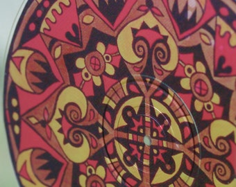 Dracula Mandala Suncatcher - Original Psychedelic Art - Geometric Design - Meditation Mandala - Bohemian Home Decor