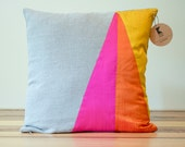Neon Triangles Geometric Silk and Linen Pillow - 18 Inches