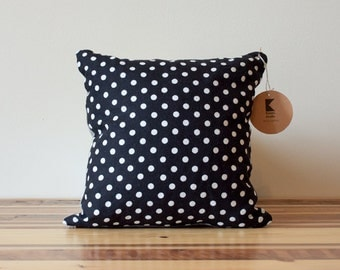 Dots Pillow in Black and White Linen - 14 Inches - LAST ONE!