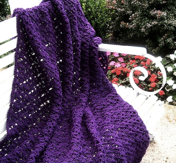 Hand Crocheted Decorative Throw in Dark Orchid