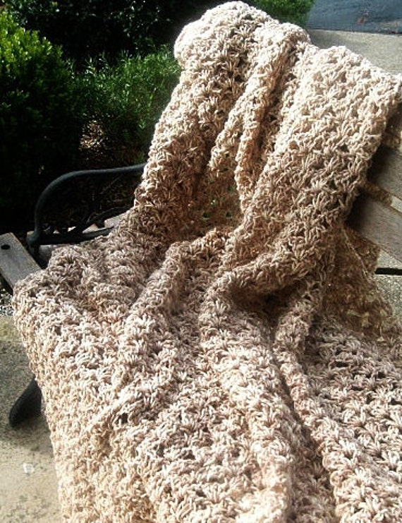 Hand Crocheted Afghan Throw in Cream and Tan Verigated