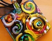 Artsy BOLD Ceramic Pendant Hand Painted Rainbow art Beaded